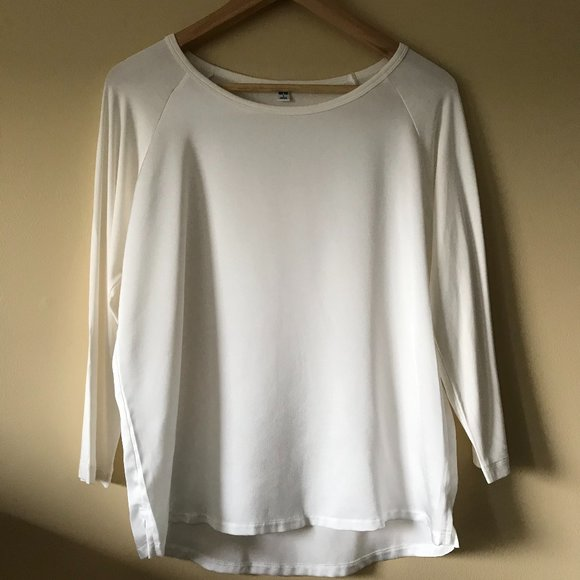 Uniqlo white silk-front top